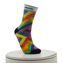 Color Interlaced Pattern Digital Printed Socks